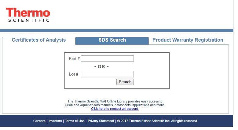 SDS & COA – Thermo   IC Controls